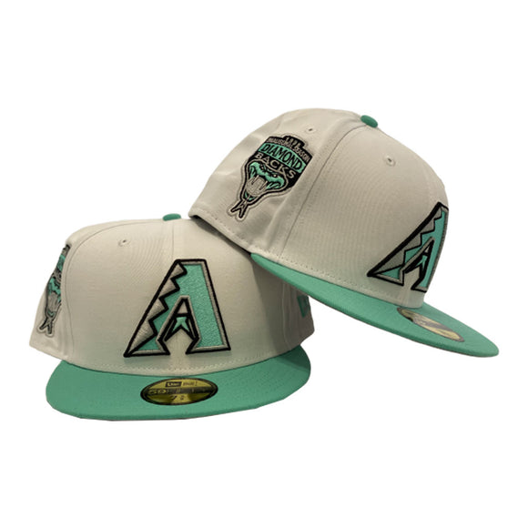 Arizona Diamondbacks Inaugural Season White Seaglass New Era 59Fifty Fitted Hats
