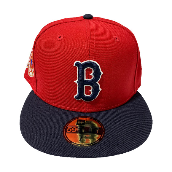 BOSTON RED SOX-RED TOP WITH BLUE VISOR FITTED CAP