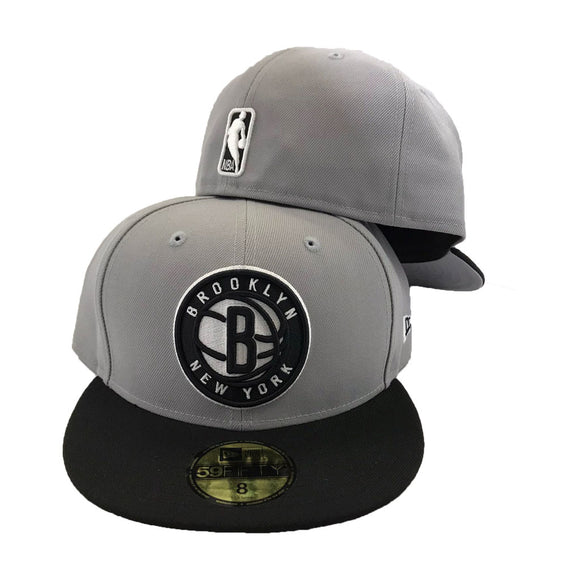 Brooklyn Nets Gray Black New Era Fitted Hat