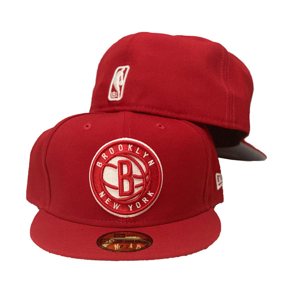 custom new era cap. all red cap. front logo in red with white outline. NBA logoman on the back. gray under visor. black sweatband.Brooklyn Nets Red New Era Fitted Hat