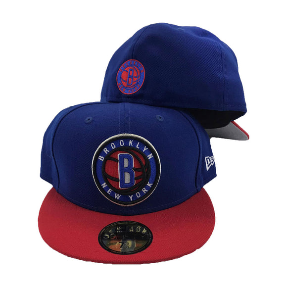 Brooklyn Nets Royal Blue Cap Red visor New Era Fitted Hat