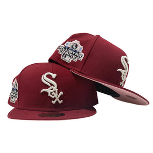 CHICAGO WHITE SOX 2003 ALL STAR RED VELVET PINK BRIM NEW ERA FITTED HAT