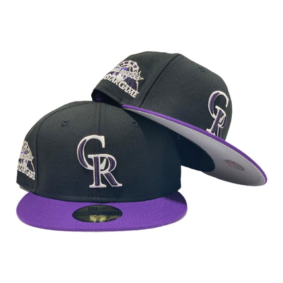 COLORADO ROCKIES 1998 ALL STAR GAME BLACK PURPLE VISOR NEW ERA FITTED HAT