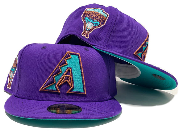 ARIZONA DIAMONDBACKS 1998 INAUGURAL SEASON PURPLE TEAL BRIM NEW ERA FITTED HAT