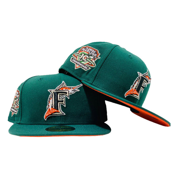 FLORIDA MARLIN 10TH ANNIVERSARY DARK GREEN ORANGE BRIM NEW ERA FITTED HAT