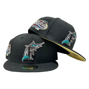 FLORIDA MARLIN 2003 WORLD SERIES BLACK BUTTER POPCORN YELLOW BRIM NEW ERA FITTED