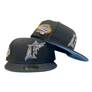 FLORIDA MARLIN 2003 WORLD SERIES BLACK ICY BRIM NEW ERA FITTED HAT