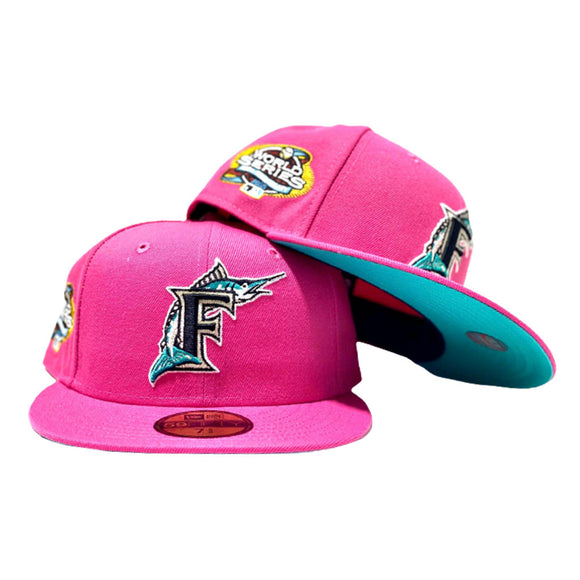 FLORIDA MARLIN 2003 WORLD SERIES DEEP PINK TEAL BRIM NEW ERA FITTED HAT
