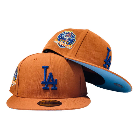 HOUSTLOS ANGELES DODGERS 60TH ANNIVERSARY RUST ICY BRIM NEW ERA FITTED