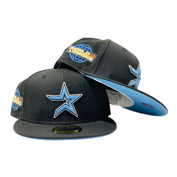 HOUSTON ASTRO 2005 WORLD SERIES BLACK ICY BRIM NEW ERA FITTED HAT