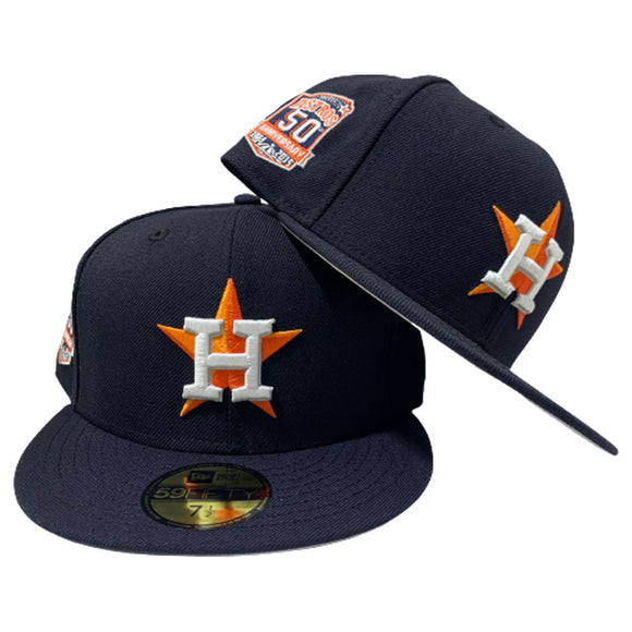HOUSTON ASTROS NAVY BLUE 50TH ANNIVERSARY NEW ERA FITTED HAT