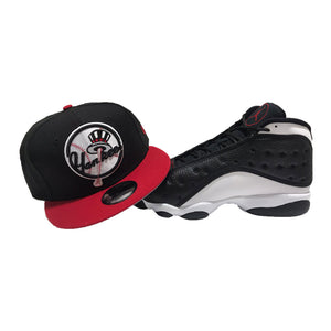 "JORDAN 13 RETRO ""BLACK/ GYM RED/ WHITE"" MATCHING NEW YORK YANKEES NEW ERA SNAPBACK HAT"