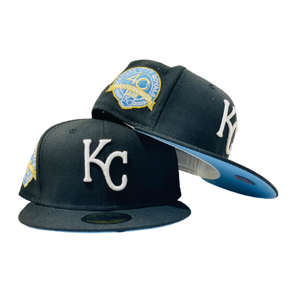 KANSAS CITY ROYALS  40TH ANNIVERSARY BLACK ICY BRIM NEW ERA FITTED HAT