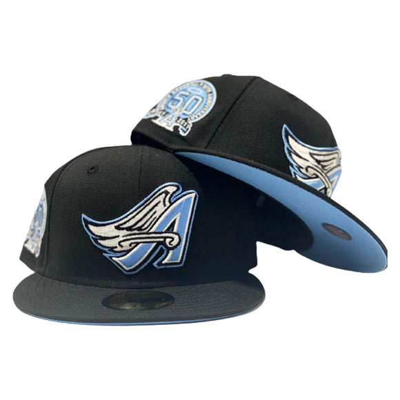 LOS ANGELES ANGELS 50TH ANNIVERSARY BLACK ICY BRIM NEW ERA FITTED HAT