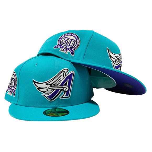 LOS ANGELES ANGELS 50TH SEASON TEAL PURPLE BRIM NEW ERA FITTED HAT
