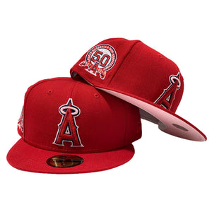 LOS ANGELES ANGELS 50TH SEASONS RED PINK BRIM NEW ERA FITTED