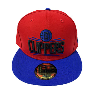 LOS ANGELES CLIPPERS RED TOP WITH ROYAL BLUE VISOR FITTED CAP