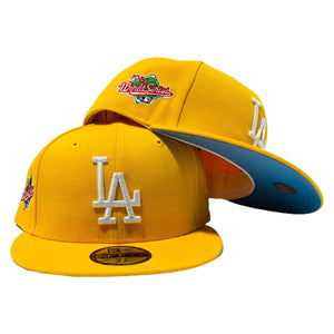 LOS ANGELES DODGERS 1988 WORLD SERIES YELLOW ICY BRIM NEW ERA FITTED HAT