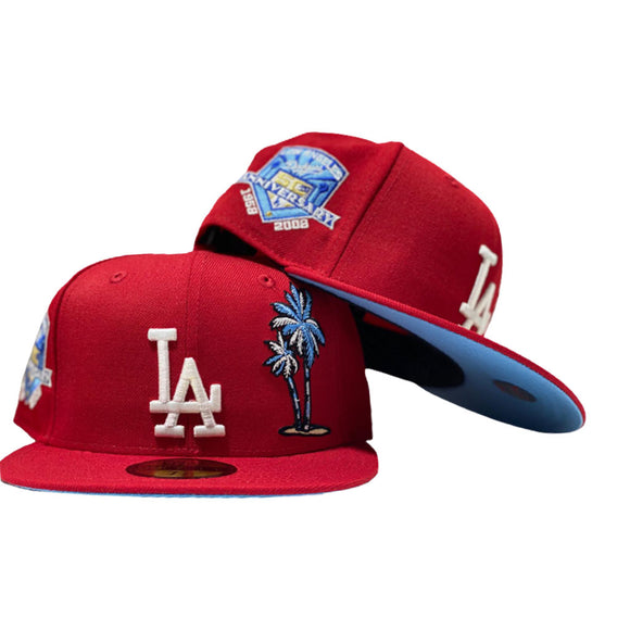 LOS ANGELES DODGERS 60TH SEASON RED PALM TREE  ICY BLUE BRIM NEW ERA FITTED HAT