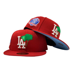 LOS ANGELES DODGERS 60TH SEASONS RED CAP ICY BRIM NEW ERA FITTED HAT