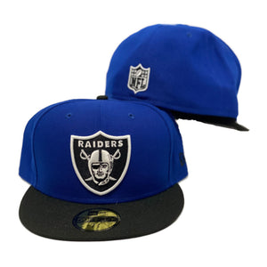 Las Vegas Raiders Black Royal Blue Shield Logo New Era 59Fifty Fitted Cap