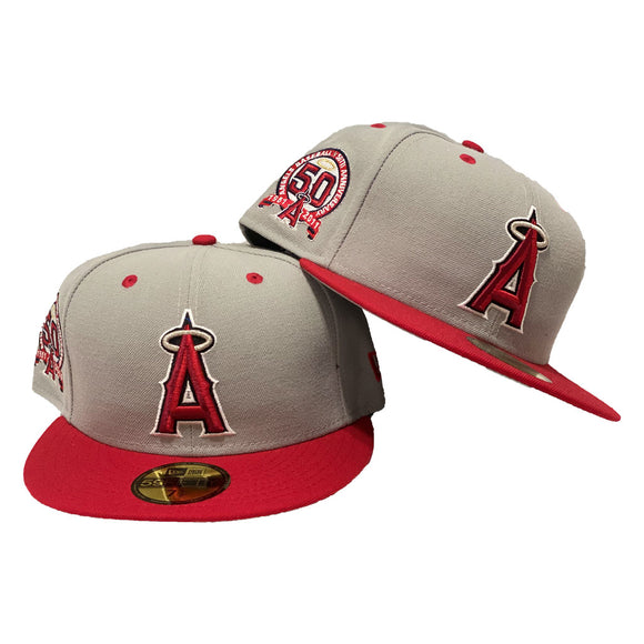 Los Angelses Angels 50th Anniversary Gray/ Red New Era Fitted Hat