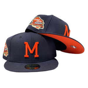 MILWAUKEE BRAVES 1957 WORLD SERIES NAVY ORANGE BRIM NEW ERA FITTED HAT