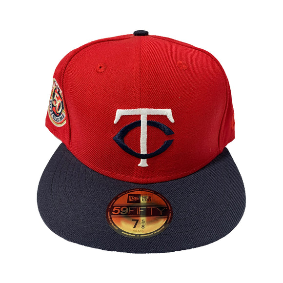 MINNESOTA TWINS RED TOP WITH NAVY BLUE VISOR FITTED CAP