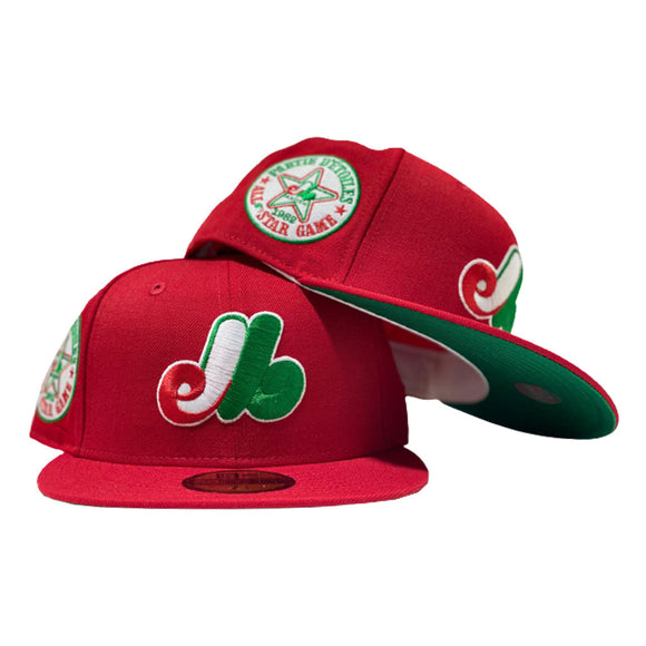 MONTREAL EXPO 1982 ALL STAR RED GREEN BRIM NEW ERA FITTED HAT