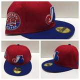 MONTREAL EXPOS NEW ERA FITTED 59FIFTY HAT RED CROWN WITH ROYAL VISOR