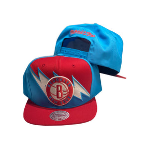 Mitchell and Ness NBA Lightning Bolt Red / Light Blue Brooklyn Nets Snapback