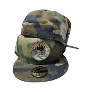 NEW YORK METS CAMO METAL LOGO NEW ERA FITTED CAP