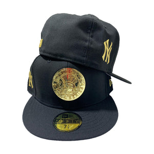 NEW YORK YANKEE 59FIFTY NEW ERA ALL BLACK WITH GOLD LOGO HAT