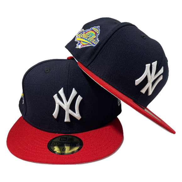 NEW YORK YANKEE NAVY BLUE TOP AND RED VISOR 1996 WORLD SERIES NEW ERA FITTED HAT