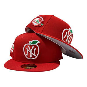 NEW YORK YANKEES 100TH ANNIVERSARY RED APPLE NEW ERA FITTED HAT