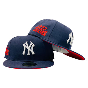 NEW YORK YANKEES 1977 WORLD SERIES NAVY RED  BRIM NEW ERA FITTED HAT