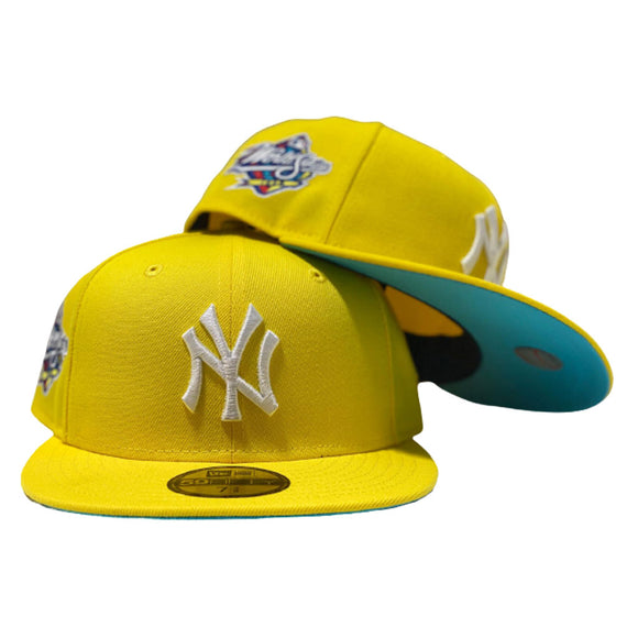 NEW YORK YANKEES 1998  WORLD SERIES BRIGHT YELLOW TEAL BRIM NEW ERA FITTED HAT
