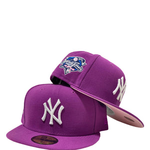 NEW YORK YANKEES 2000 WORLD SERIES SPARKING GRAPE PINK BRIM NEW ERA FITTED