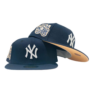 NEW YORK YANKEES 75TH WORLD SERIES NAVY PEACH BRIM NEW ERA FITTED HAT