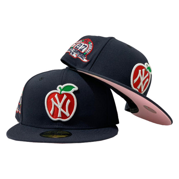 NEW YORK YANKEES BIG APPLE 27TH CHAMPIONSHIP PINK BRIM NEW ERA FITTED