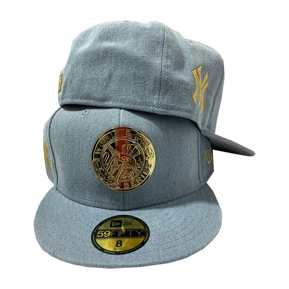 NEW YORK YANKEES LIGHT WASH BLUE DENIM METAL LOGO 59FIFTY NEW ERA FITTED