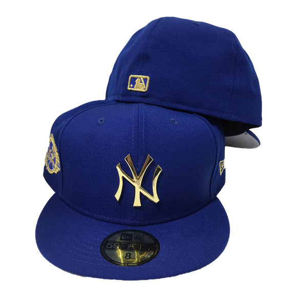 NEW YORK YANKEES ROYAL METAL GOLD LOGO NEW ERA 59FIFTY FITTED HAT