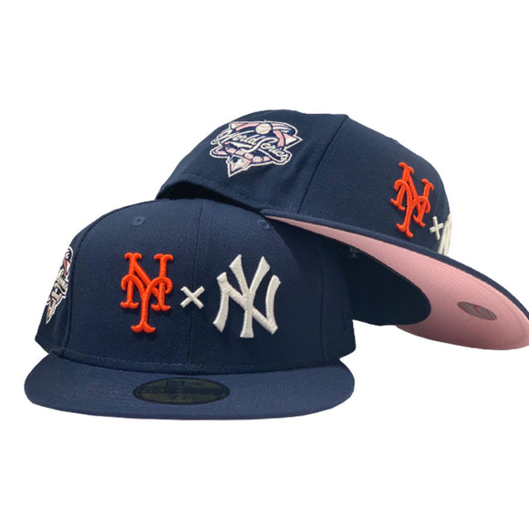 NEW YORK YANKEES VS METS SUBWAY SERIES LIGHT NAVY PINK BRIM NEW ERA FITTED