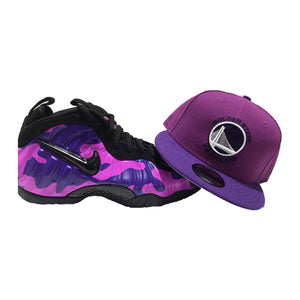 "NIKE FOAMPOSITE "" PURPLE CAMO"" MATCHING GOLDEN STATE WARRIORS NEW ERA SNAPBACK HAT"