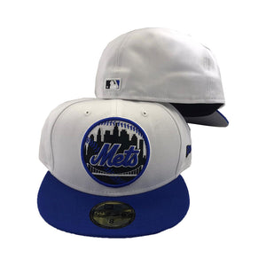 New York Mets New Era White Royal Circle Logo Fitted Hat