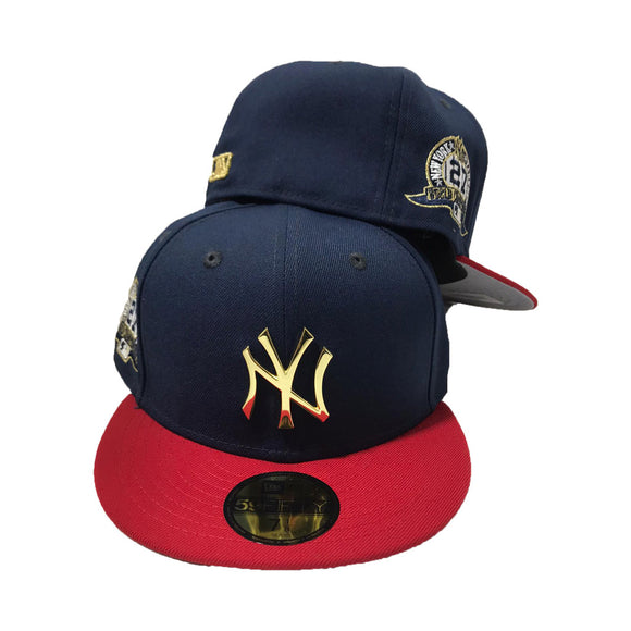 New York Yankees 27th championship Navy Red Metal Gold Logo New Era Fitted Hat