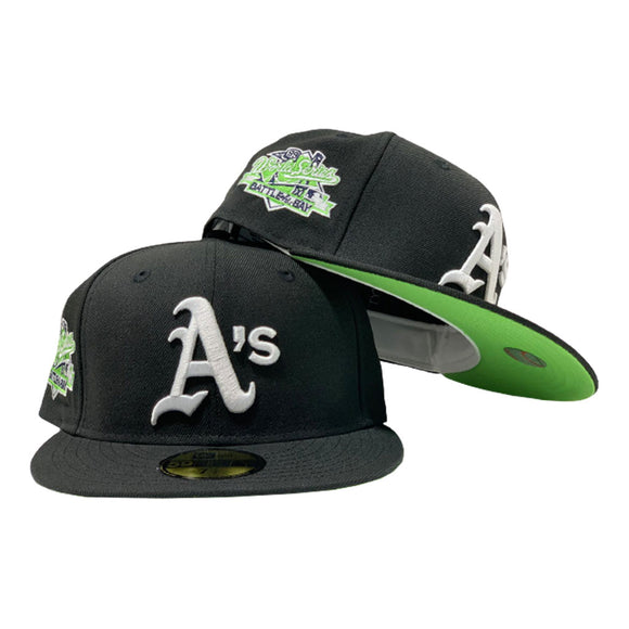 OAKLAND ATHLETICS 1989 BATTLE OF THE BAY WORLD SERIES BLACK APPLE GREEN BRIM NEW ERA FITTED HAT