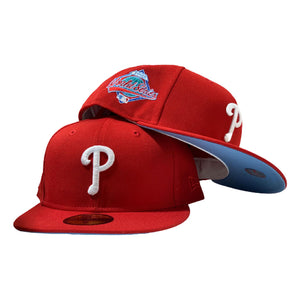 PHILADELPHIA PHILLIES 1993 WORLD SERIES RED ICY BRIM NEW ERA FITTED HAT