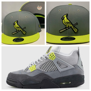 Perfect matching st. louis Cardinals snapback to match Jordan 4 Retro SE 95 Neon