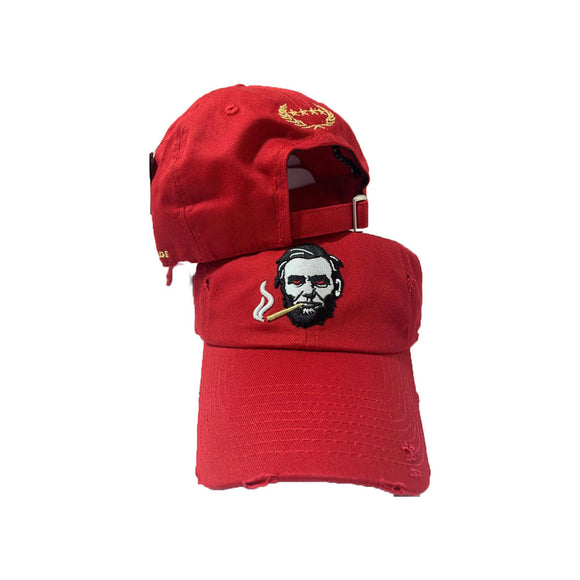 RED DISRESSED SMOKING ABE DAD HAT